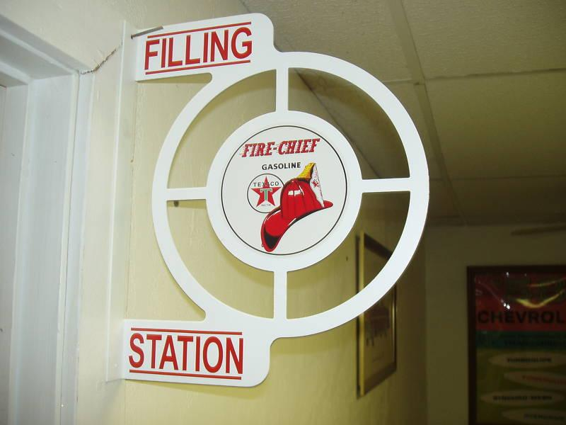 TEXACO FIRE CHIEF - WALL MOUNT FLANGE SIGN IN WHITE, Auto