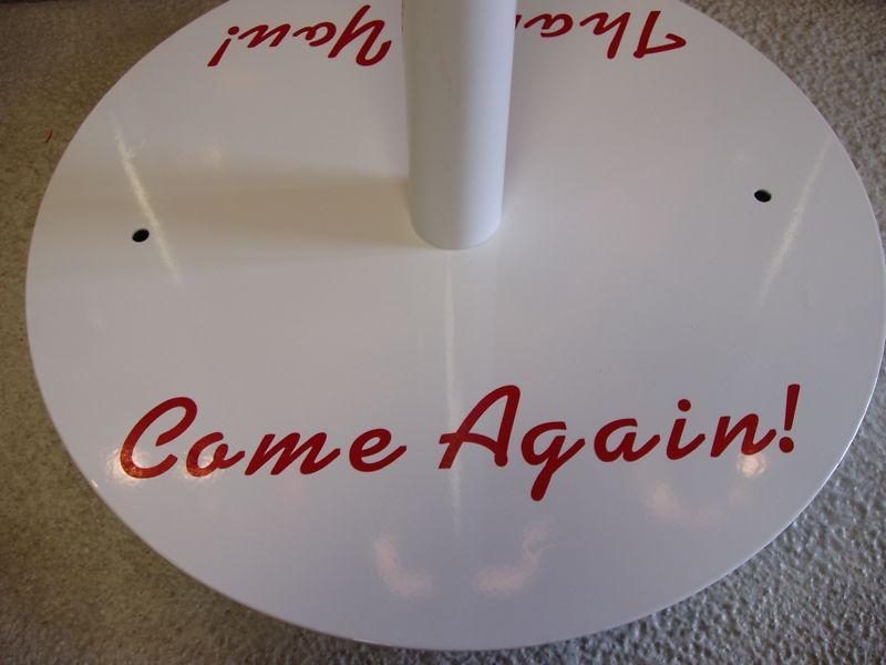 TEXACO STAR DINO GASOLINE LOLLIPOP CURB SIGN IN WHITE /RED